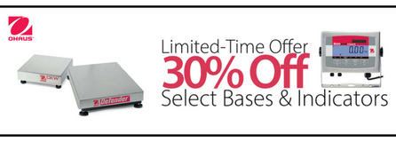 30% Off Select OHAUS Bench Scale Indicator & Bases