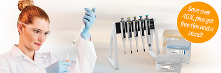 Save over 40% on Tacta Pipettes, get free tips and a stand!